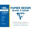 Pochette papier  dessin Clairefontaine - 21 x 29.7 - 180 gr - 12 Feuilles Blanches