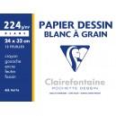 Pochette papier  dessin Clairefontaine - 24 x 32 - 224 gr - 12 Feuilles Blanches