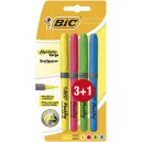 Surligneurs Bic Highlighter - Blister de 3 + 1 gratuit