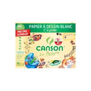 Pochette papier dessin Canson - 24 x 32 cm - 224 gr - Blanc -