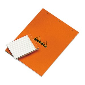 Bloc orange Rhodia - A4 - 21 x 29,7 - 5 x 5 - 80 gr - 80 feuille