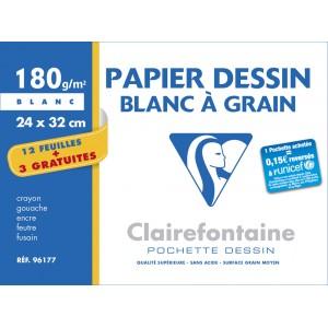 Pochette papier blanc Clairefontaine 24 x 32- 180 g- 12 feuilles + 3 gratuites