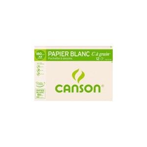 Pochette papier  dessin Canson - 21 x 29.7 - 180 gr - 12 Feuilles Blanches